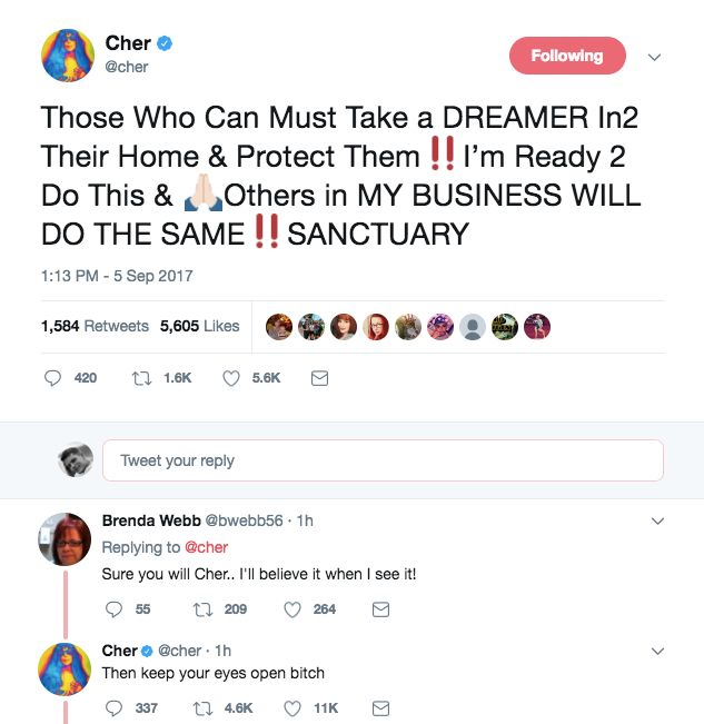 Cher promises to open up home to 'Dreamers'
