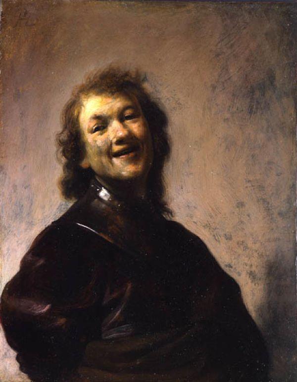 <em>Rembrandt Laughing</em>, about 1628. Rembrandt Harmensz. van Rijn (Dutch, 1606–1669). Oil on copper. 8 3/4 x 6 5&#x2