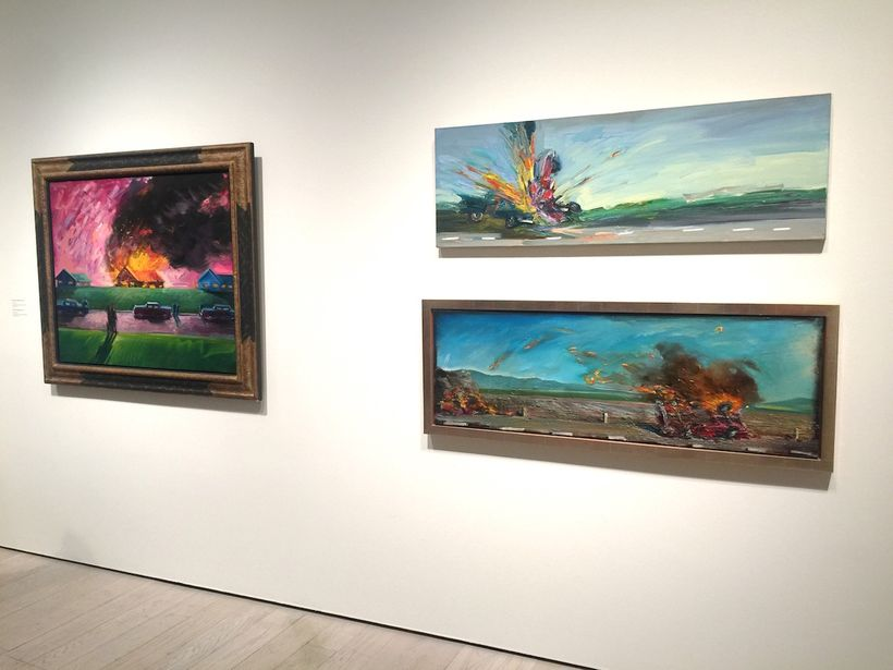 Exhibition installation shot: <em>Painting with Fire: Paintings by Carlos Almaraz.</em> A selection of his iconic car crash p