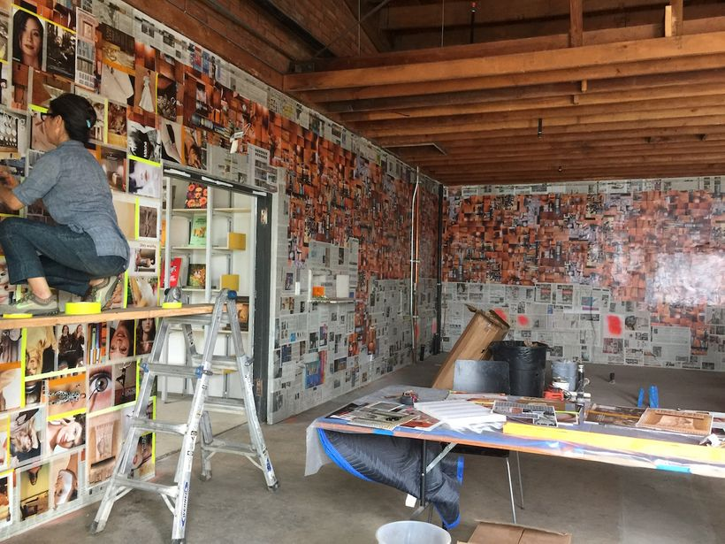 Exhibition installation in process at the new Institute of Contemporary Art, Los Angeles. Image by Edward Goldman.