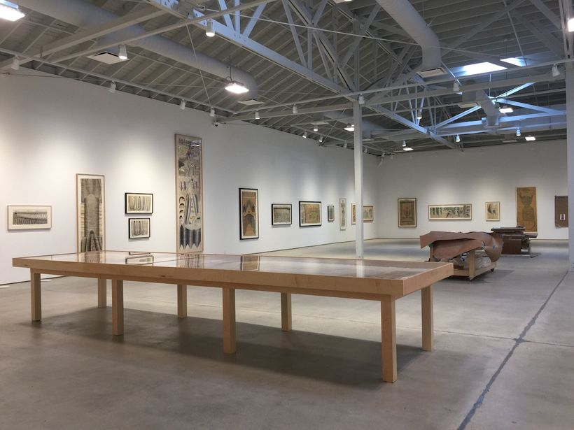 Exhibition installation in process for <em>MARTÍN RAMÍREZ: HIS LIFE IN PICTURES, ANOTHER INTERPRETATION </em>at the new Insti