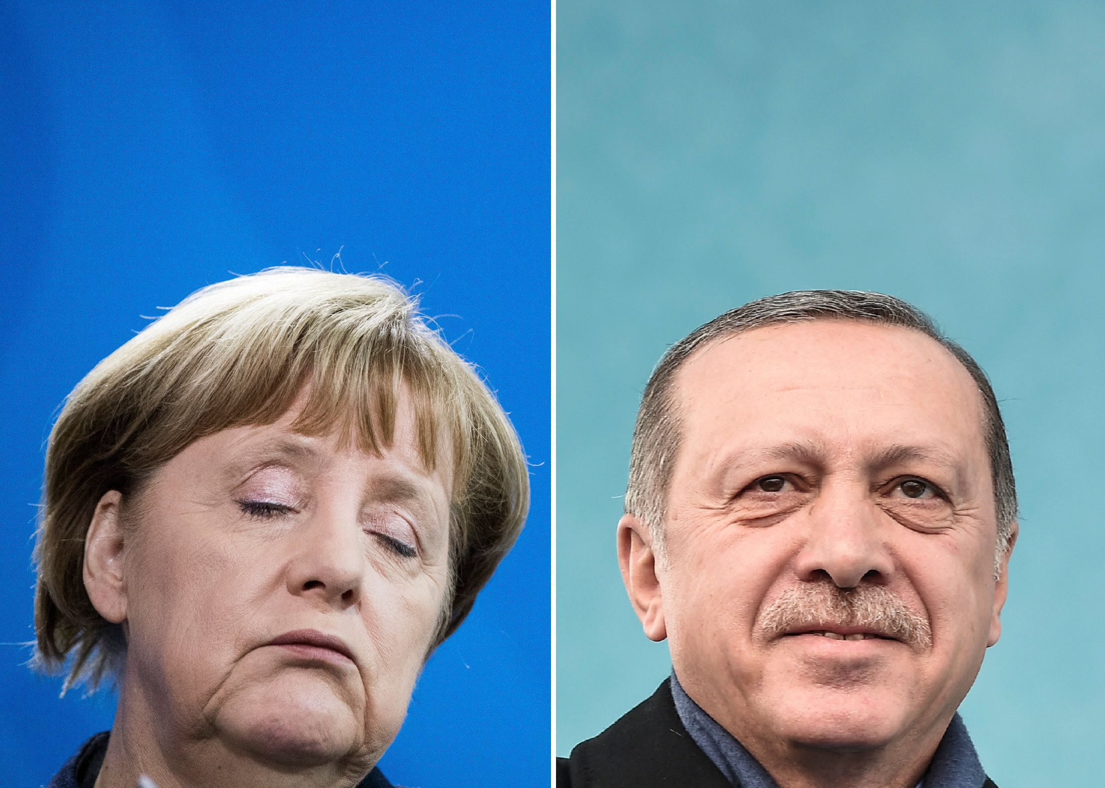 (COMBO) This combination of file pictures created on March 14, 2017 shows German Chancellor Angela Merkel (February 23, 2017 in Berlin) and Turkish President Recep Tayyip Erdogan (March 11, 2017 in Istanbul). German Chancellor Angela Merkel regards accusations by Turkish President Recep Tayyip Erdogan that she supports 'terrorists' as 'clearly absurd', her spokesman Steffen Seibert said late Monday, March 13, 2017. / AFP PHOTO / Odd ANDERSEN AND Ozan KOSE        (Photo credit should read ODD ANDERSEN,OZAN KOSE/AFP/Getty Images)
