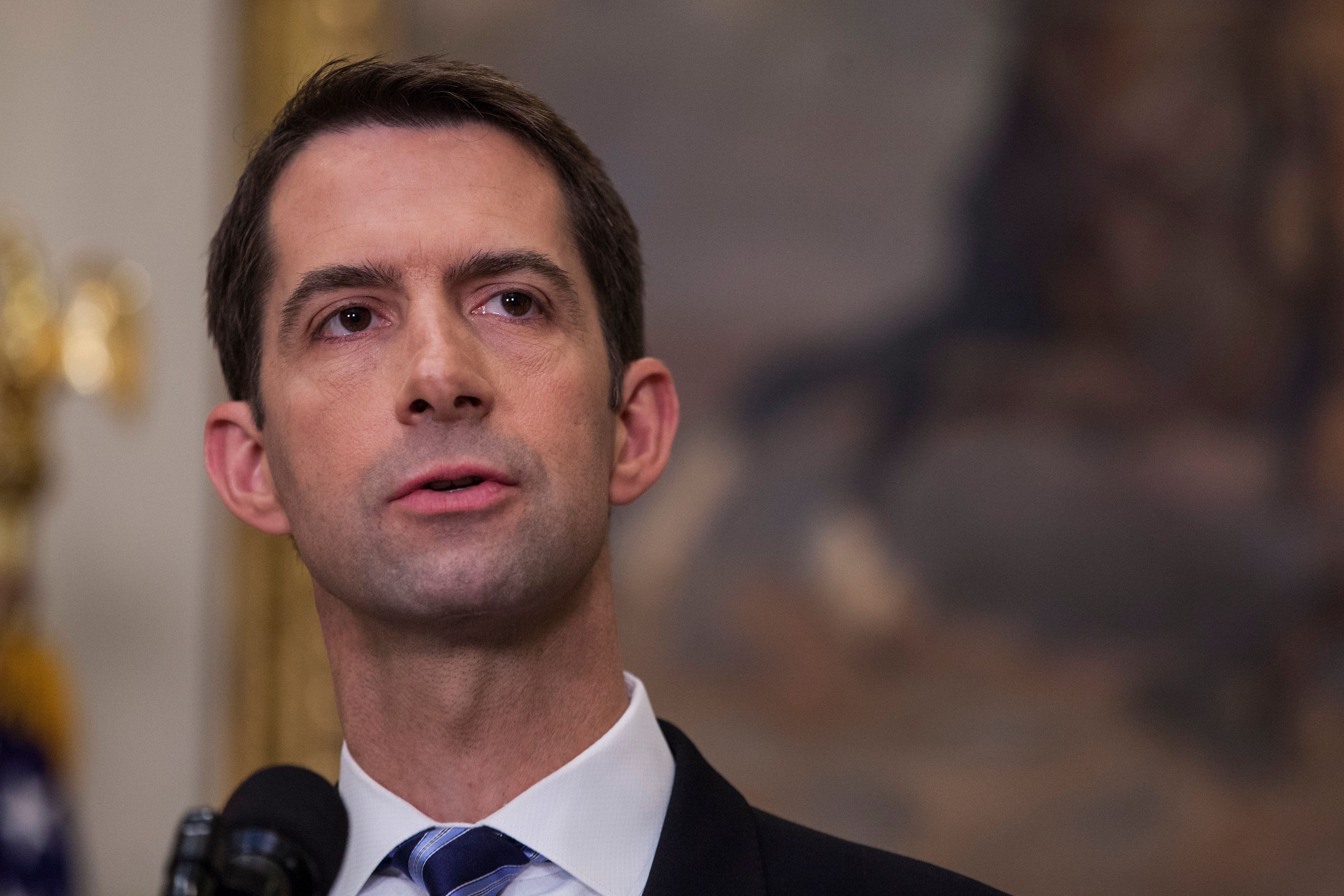 WASHINGTON, DC - AUGUST 2: (AFP OUT) Sen. Tom Cotton (R-AR) makes an announcement on the introduction of the Reforming American Immigration for a Strong Economy (RAISE) Act in the Roosevelt Room at the White House on August 2, 2017 in Washington, DC. The act aims to overhaul U.S. immigration by moving towards a 'merit-based' system. (Photo by Zach Gibson - Pool/Getty Images)