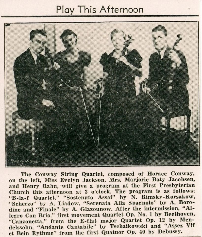 Flicka's parents, Evelyn Jackson (2nd from left) and Henry Rahn (right), met in this string quartet and married soon after.