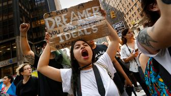 NEW YORK, NY - SEPTEMBER 5:Gloria Mendoza, age 26, is a Dreamer. She is originally from Mexico City. She took part in the protests on Sept. 5, 2017. Protesters gather at Trump Tower in New York in opposition to the announcement by President Trump that #DACA will be changed. Many of those attending are 'Dreamers,' and may be affected by the changes. (Photo by Carolyn Cole/Los Angeles Times via Getty Images)