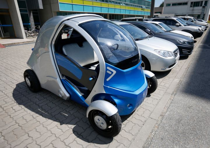 Thiscollapsable electric vehicle uses batteries instead of combustion engines. Daejeon, South Korea, Sept. 2, 2013.