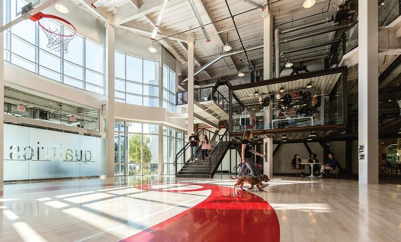 Qualtrics has an established campus featuring basketball, a breakfast cereal bar, and an accessible outdoor WiFi garden
