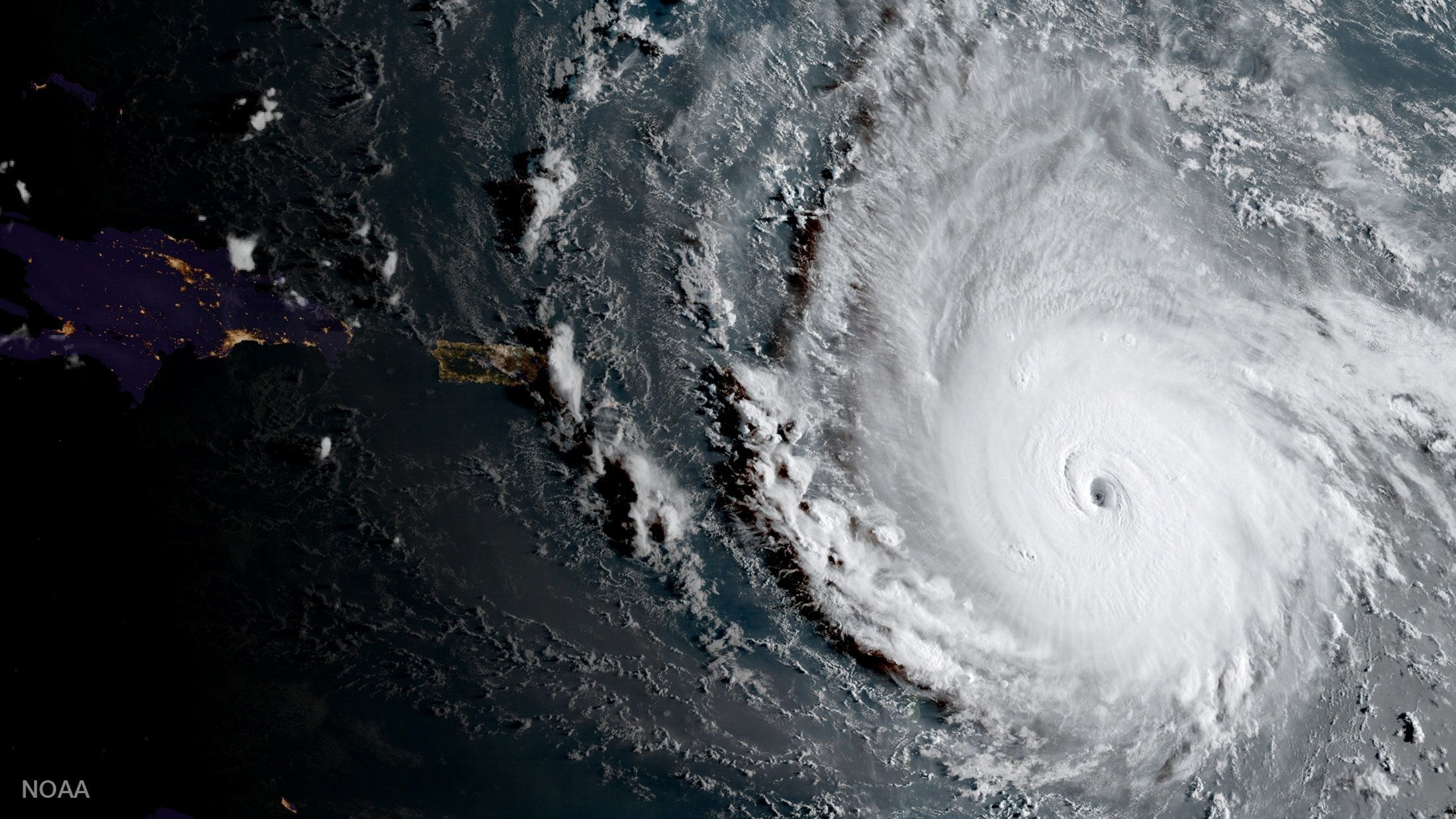 Hurricane Irma, a record Category 5 storm, is seen in this NOAA National Weather Service National Hurricane Center image from GOES-16 satellite taken on September 5, 2017.    Courtesy NOAA National Weather Service National Hurricane Center/Handout via REUTERS     ATTENTION EDITORS - THIS IMAGE WAS PROVIDED BY A THIRD PARTY     TPX IMAGES OF THE DAY