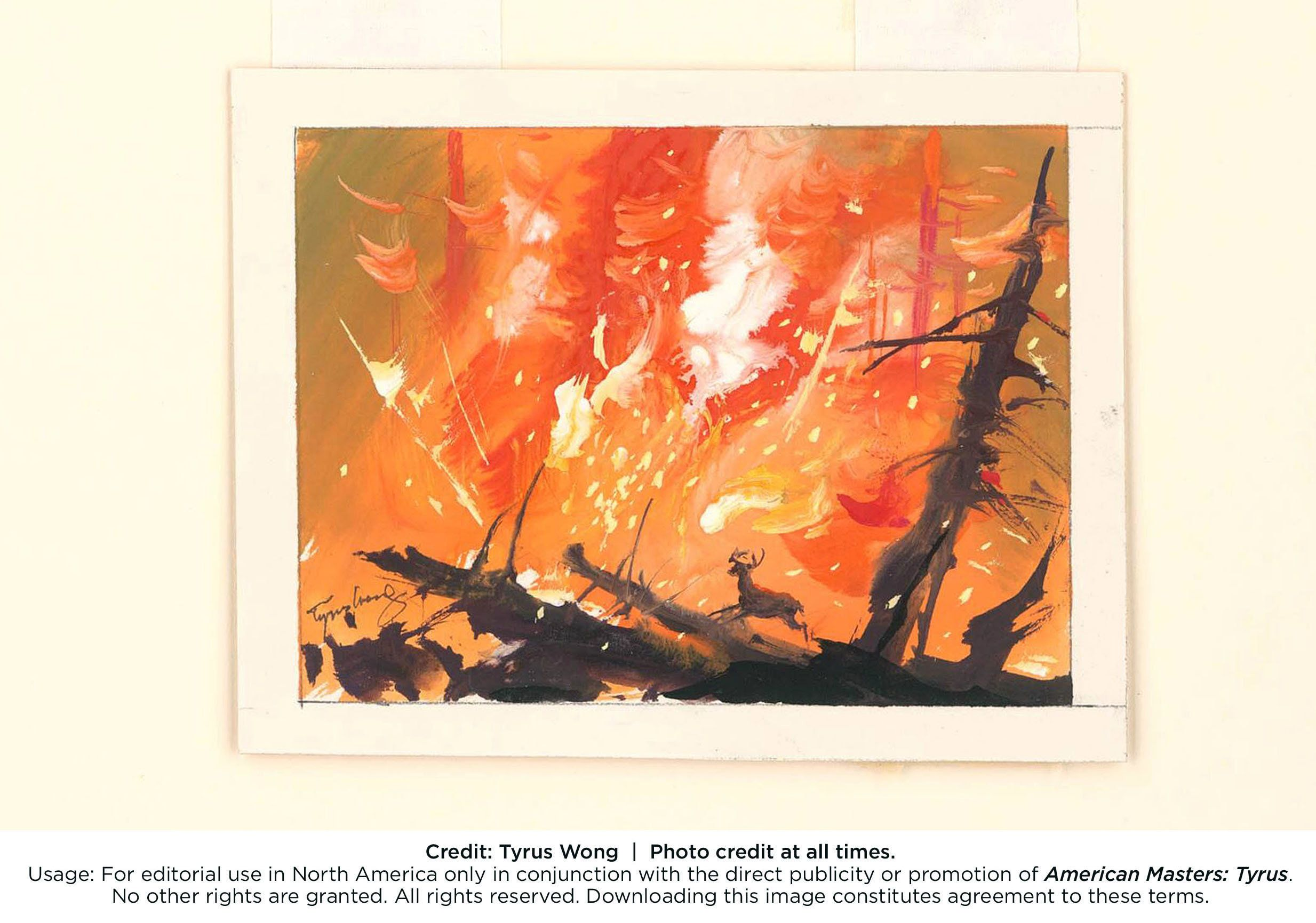 Tyrus Wong Bambi visual development 1942 Watercolor on paper Credit: Tyrus Wong
