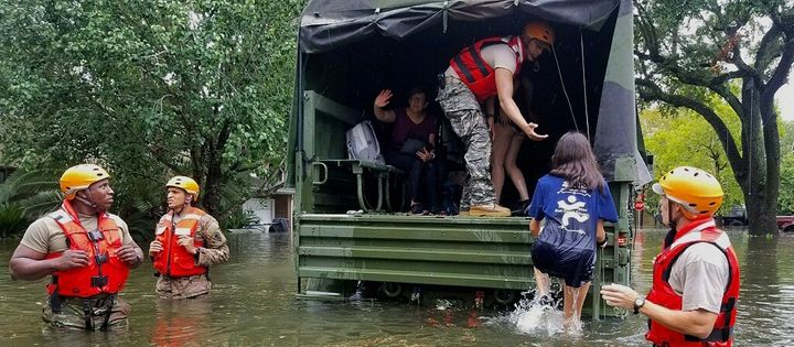 Texas Army National Guardsmen help Houston residents affected by Hurricane Harvey, Aug. 27, 2017.