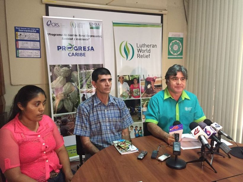 Brenda Manzanares (far left), the Nicaraguan finalist in the Cocoa of Excellence competition at a press conference in Managua