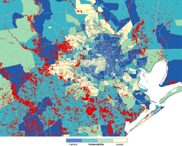 Red areas represent the maximum observed flooding during Hurricane Harvey. Each shaded section of the map represents a census