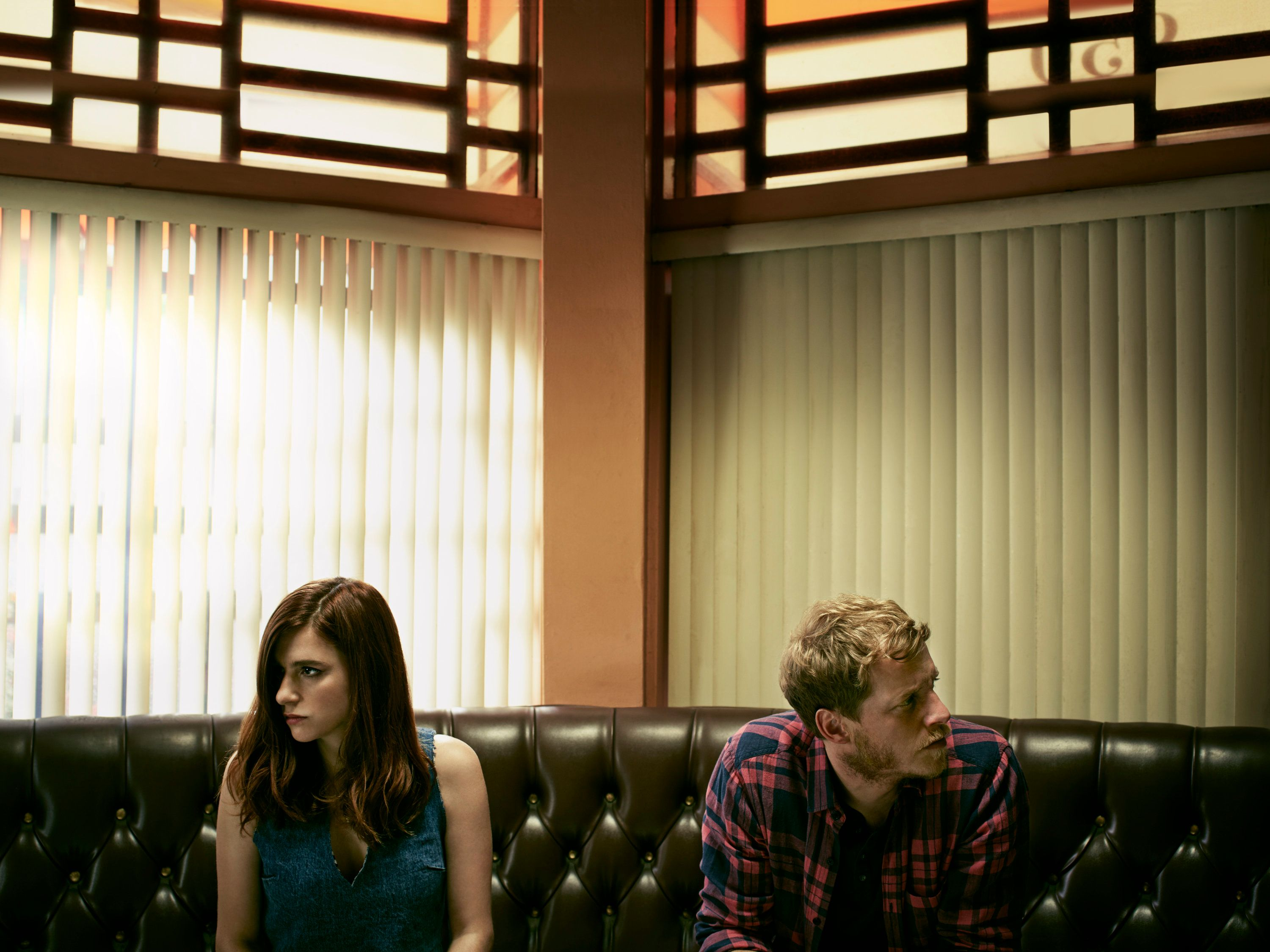 """Aya Cash as Gretchen and Chris Geere as Jimmy in """"You're the Worst."""""""