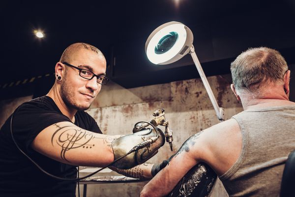 Tattoo artist JC Sheitan owns the world's first prosthetic tattoo gun arm. It was made by JL Gonzal of Lyon, France.