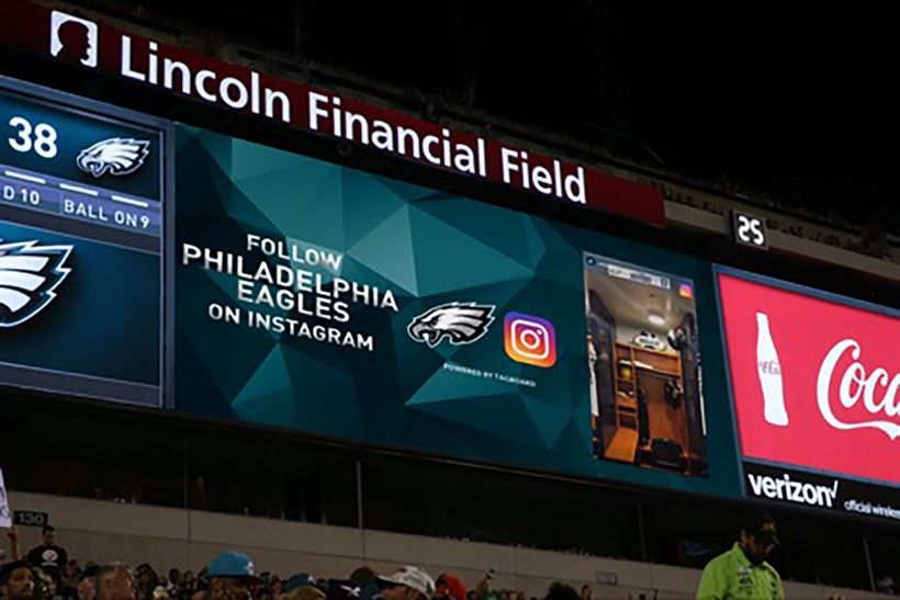 The Philadelphia Eagles become the first NFL team to launch Instagram Stories content, powered by Tagboard, at Lincoln Financ