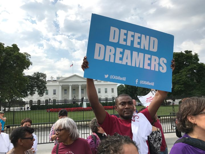 DREAMers rally in front of the White House after Donald Trump announced he would end DACA.