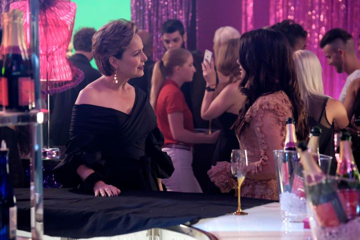"Jacqueline and Jane chat at a Scarlet party during the finale episode of ""The Bold Type."""