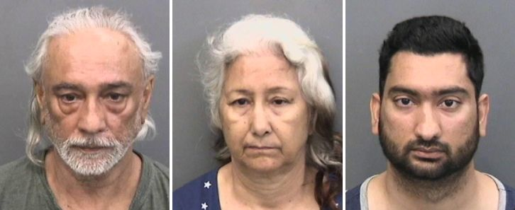 Jasbir, Bhupinder and Devbir Kalsi(left to right) were arrested Saturday on charges ofbeating and holding Devbir'