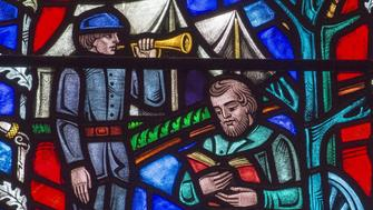 This stained glass window at The Washington National Cathedral in Washington, DC, depicts the life of US Civil War Confederate General Stonewall Jackson, on June 25 2015. The dean of The National Cathedral, Reverend Gary Hall, called on June 25 for two stained glass windows that depict the controversial Confederate flag to be replaced. Hall said the windows -- installed in 1953 and depicting Confederate Generals Robert E. Lee and Stonewall Jackson -- were no longer appropriate. 'It is time to take those windows out,' Hall said in a statement, eight days after a young white supremacist murdered nine blacks in an African-American church in Charleston, South Carolina. 'Here, in 2015, we know that celebrating the lives of these two men, and the flag under which they fought, promotes neither healing nor reconciliation, especially for our African-American sisters and brothers.'      AFP PHOTO/PAUL J. RICHARDS        (Photo credit should read PAUL J. RICHARDS/AFP/Getty Images)