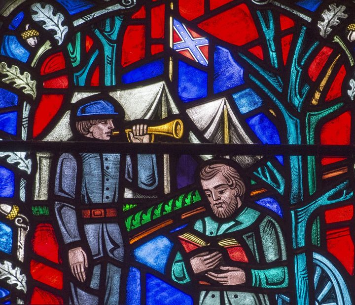 A stained glass window at the Washington National Cathedral in Washington, D.C., depicting the life of Confederate Gen.