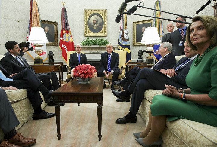 Congressional leaders met with the president and vice president at the White House Wednesday.