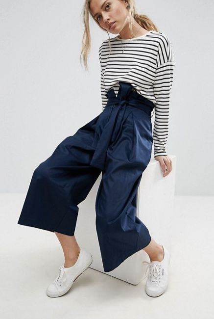 "<a href=""http://us.asos.com/asos/asos-tailored-wide-leg-culotte-with-paper-bag-waist/prd/8426504?clr=navy&SearchQuery=pap"