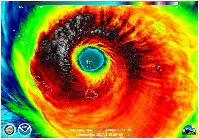 NOAA captured this image of historic Hurricane Irma on Sept. 6 as it engulfed  Barbuda, apparently on its way to the U.S. mai