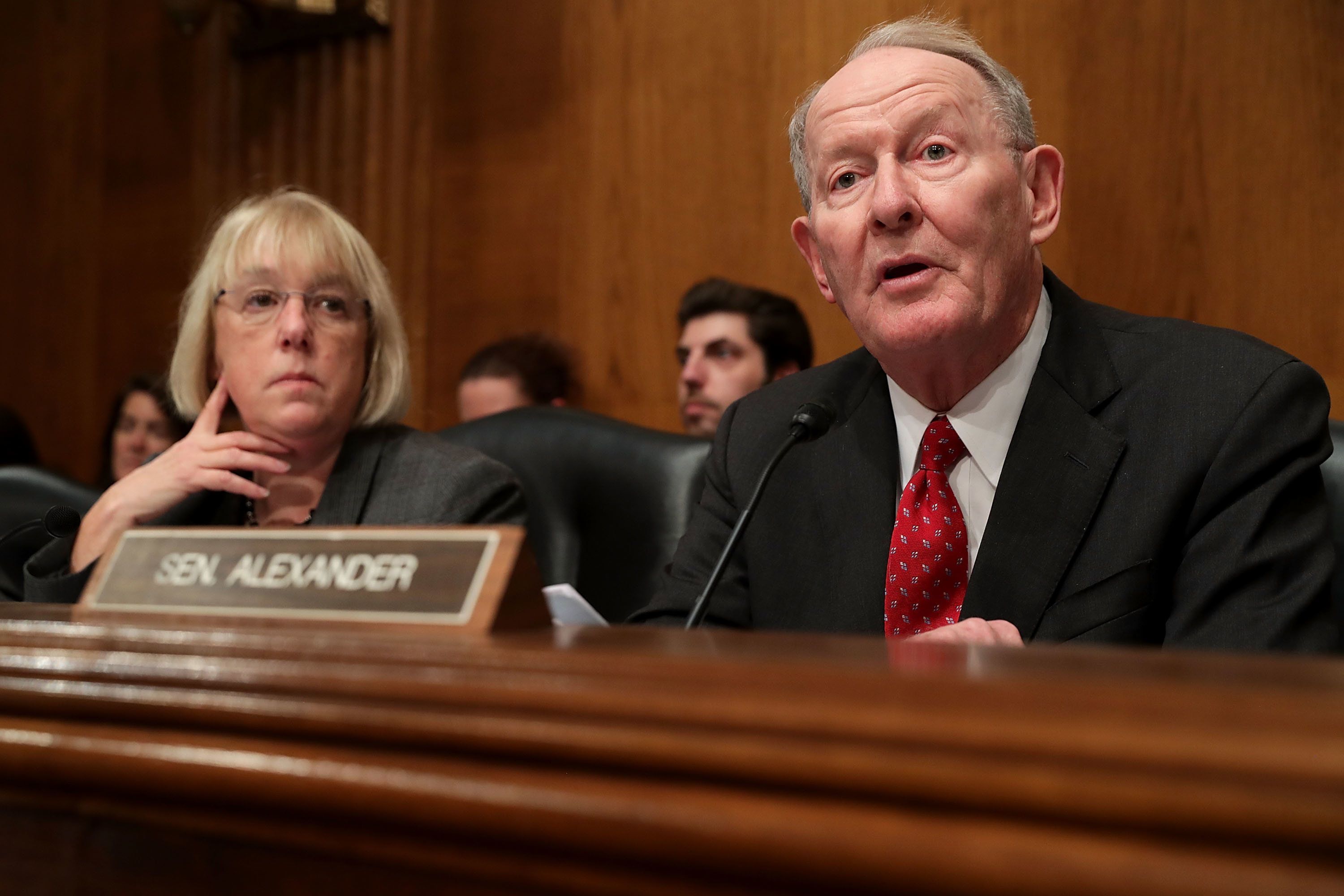 WASHINGTON, DC - JANUARY 17:  Senate Health, Education, Labor and Pensions Committee Chairman Lamar Alexander (R) delivers opening remarks as ranking member Sen. Patty Murray (D-WA) listens during the confirmation hearing for Betsy DeVos, President-elect Donald Trump's pick to be the next Secretary of Education, in the Dirksen Senate Office Building on Capitol Hill  January 17, 2017 in Washington, DC. DeVos is known for her advocacy of school choice and education voucher programs and is a long-time leader of the Republican Party in Michigan.  (Photo by Chip Somodevilla/Getty Images)