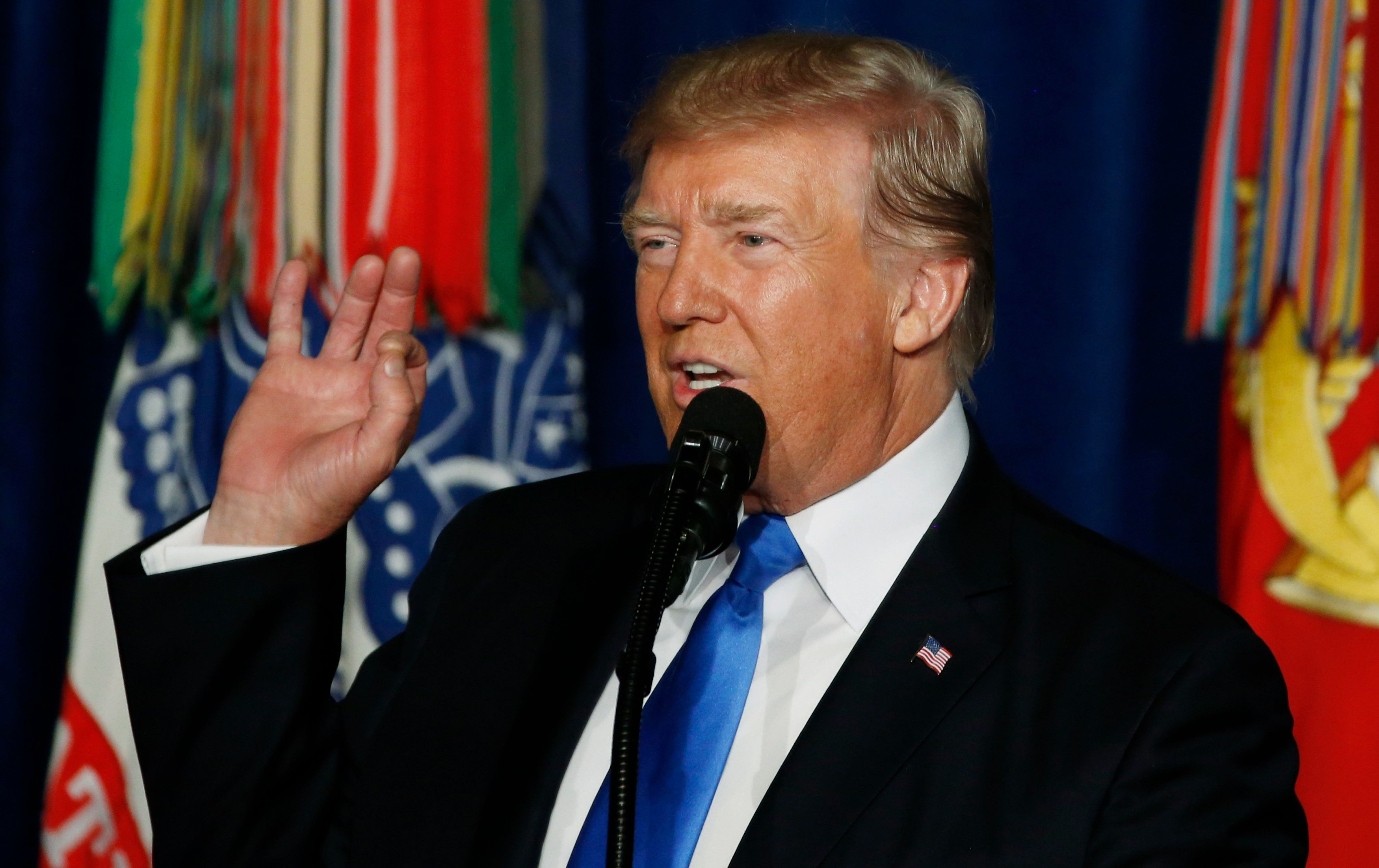 U.S. President Donald Trump announces his strategy for the war in Afghanistan during an address to the nation from Fort Myer, Virginia, U.S., August 21, 2017. REUTERS/Joshua Roberts
