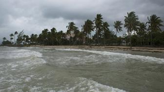 A picture taken on September 6, 2017 shows a general view of the Pointe de la Verdure beach in Gosier, on the French overseas island of Guadeloupe, as high winds from Hurricane Irma hit the island. Monster Hurricane Irma slammed into Caribbean islands today after making landfall in Barbuda, packing ferocious winds and causing major flooding in low-lying areas. As the rare Category Five storm barreled its way across the Caribbean, it brought gusting winds of up to 185 miles per hour (294 kilometers per hour), weather experts said.  / AFP PHOTO / Helene Valenzuela        (Photo credit should read HELENE VALENZUELA/AFP/Getty Images)