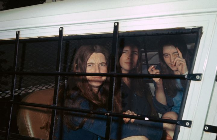 The three female members of Charles Manson's 'family' in 1970 (from left): Patricia Krenwinkle, Leslie Van Houten and Susan A
