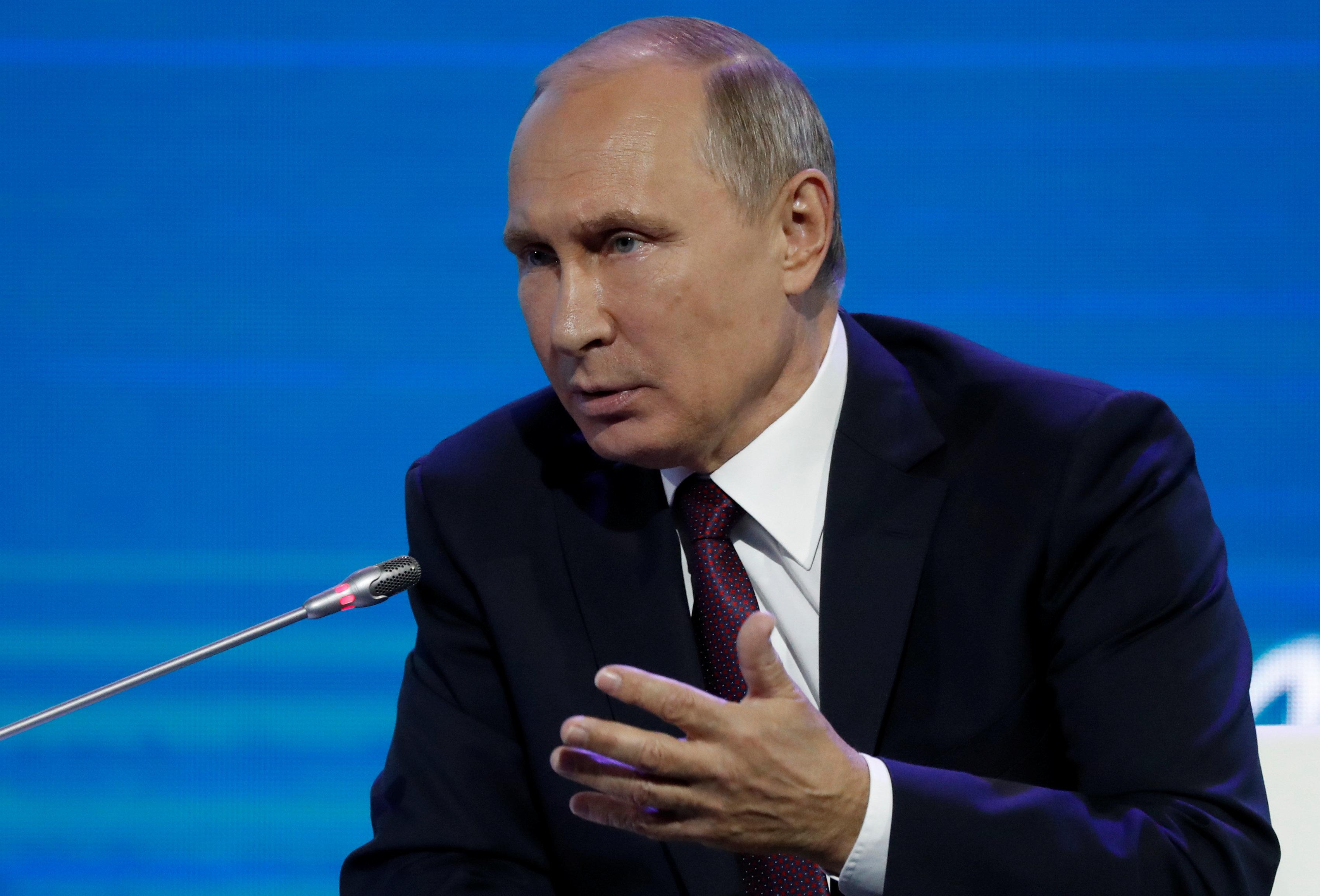 Russian President Vladimir Putin speaks during a session of the Eastern Economic Forum in Vladivostok, Russia September 7, 2017. REUTERS/Sergei Karpukhin