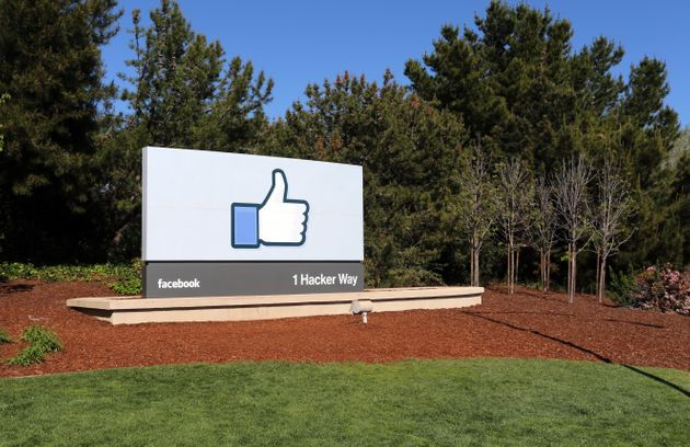 A sign at the entrance to the Facebook World Headquarters located in Menlo