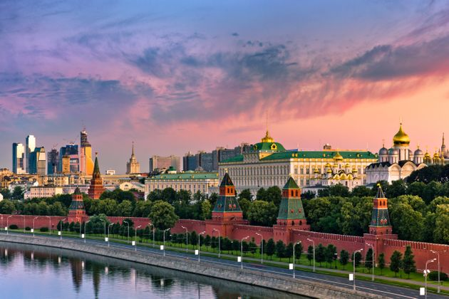 View of the Moskva River along the Kremlin wall in