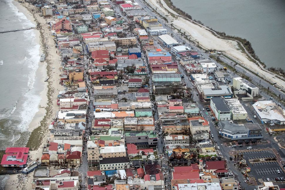 View of the aftermath of Hurricane Irma on Sint Maarten, which is the Dutch sideof Saint Martin island in the Caribbean