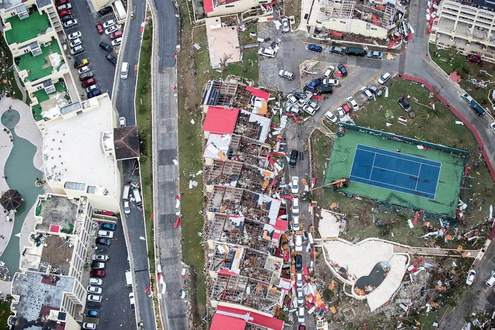 View of the aftermath of Hurricane Irma on the Dutch side of St. Martinon Sept. 6, 2016.