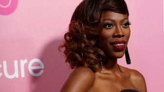 """Cast members Yvonne Orji poses at the premiere for the television series """"Insecure"""" in Los Angeles, California U.S., October 6, 2016.   REUTERS/Mario Anzuoni"""