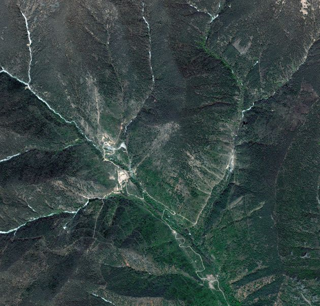 A satellite image shows Punggye-ri in 2009 in North Korea, shortly after an underground nuclear...