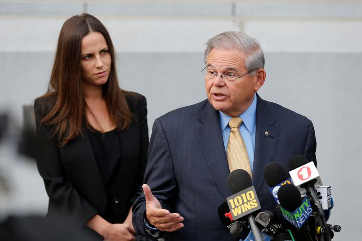 Sen. Bob Menendez speaks to journalists on Tuesday outside United States District Court for the District of New Jersey i