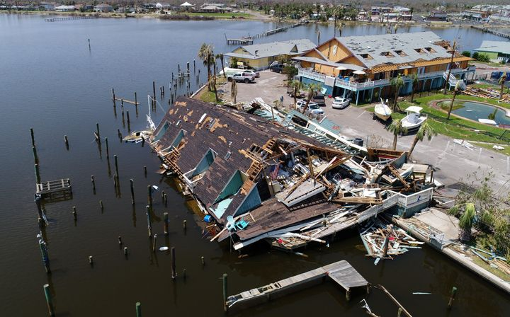 An aerial photo shows damage caused by Hurricane Harvey in Rockport, Texas, U.S., Aug. 31, 2017.