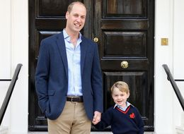 Duke Of Cambridge And Prince George Pictured As They Set Off On Their First School Run