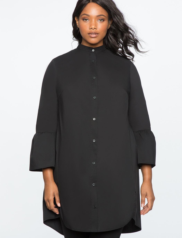 Plus size button down shirt dresses
