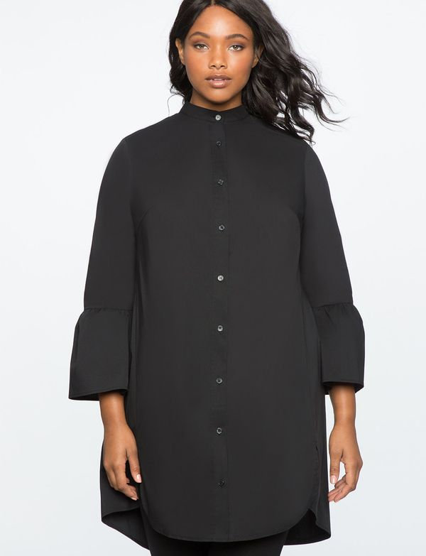 """<a href=""""http://www.eloquii.com/shirt-dress-with-flare-sleeves/1243973.html?cgid=2628-dresses&dwvar_1243973_colorCode=100"""