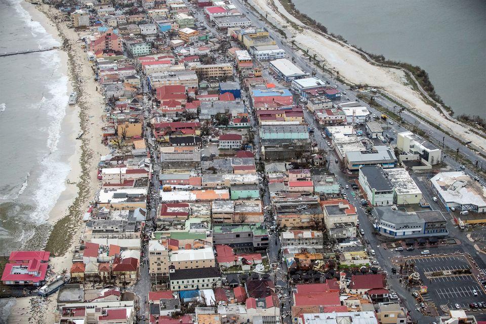 View of the aftermath of Hurricane Irma on Sint Maarten Dutch part of Saint