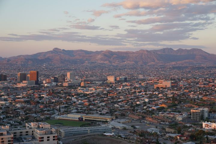 Just beyond the tall buildings of downtown El Paso, Texas, is Juárez Mexico and the Sierra Madre mountain range.