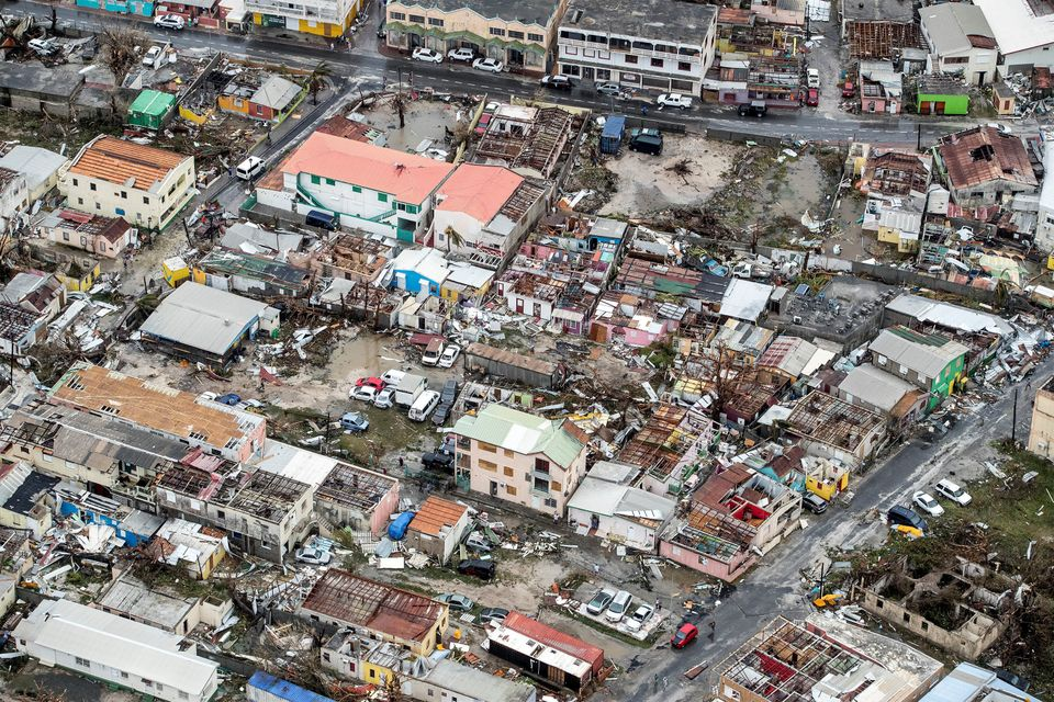 View of the aftermath of Hurricane Irma on Sint Maarten Dutch part of Saint Martin island in the