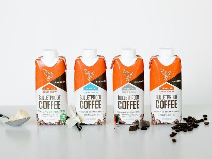 The lineup of Bulletproof coffee.
