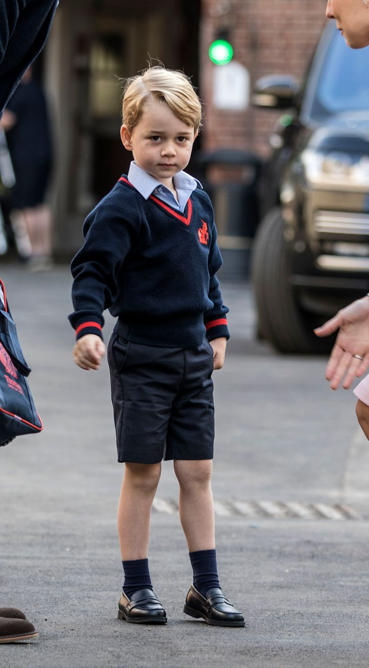Prince George on his first day of school at Thomas's Battersea, London.