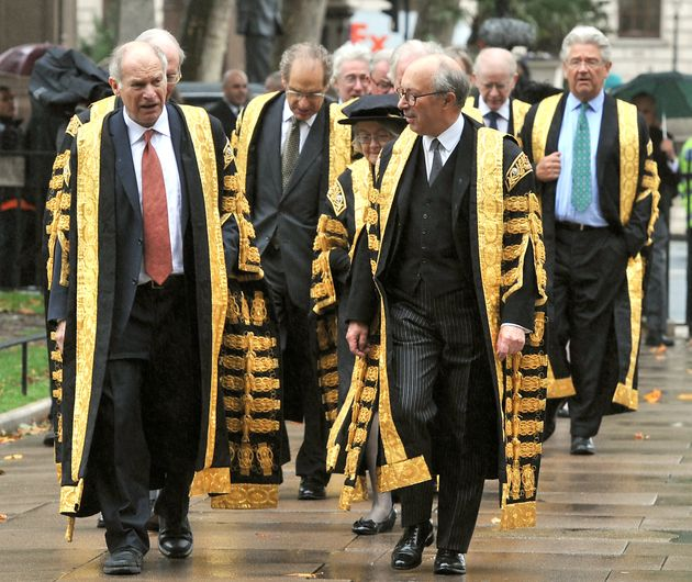 Lord Neuberger (left) walks towards Westminster Abbey with Deputy President Lord David Hope (right),...