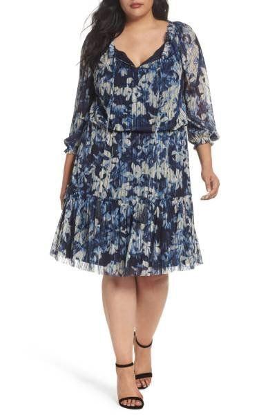 """Shop it <a href=""""http://shop.nordstrom.com/s/london-times-floral-crinkle-mesh-blouson-dress-plus-size/4643627?origin=keywords"""